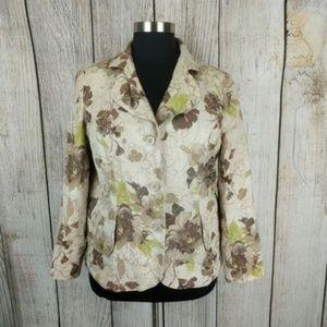 Coldwater Creek Linen Cotton Floral Jacket Blazer
